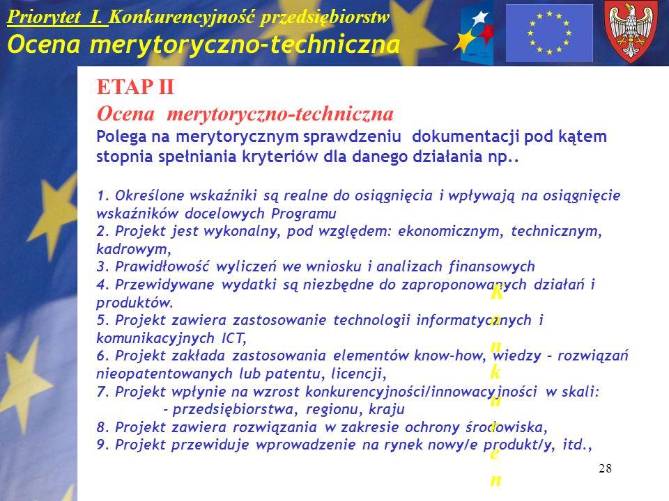 28 Priorytet I. Konkurencyjność przedsiębiorstw Ocena merytoryczno-techniczna ETAP II Ocena merytoryczno-techniczna Polega na merytorycznym sprawdzeni