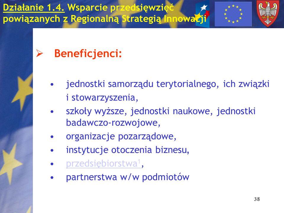 38 Beneficjenci: jednostki samorządu terytorialnego, ich związki i stowarzyszenia, szkoły wyższe, jednostki naukowe, jednostki badawczo-rozwojowe, org
