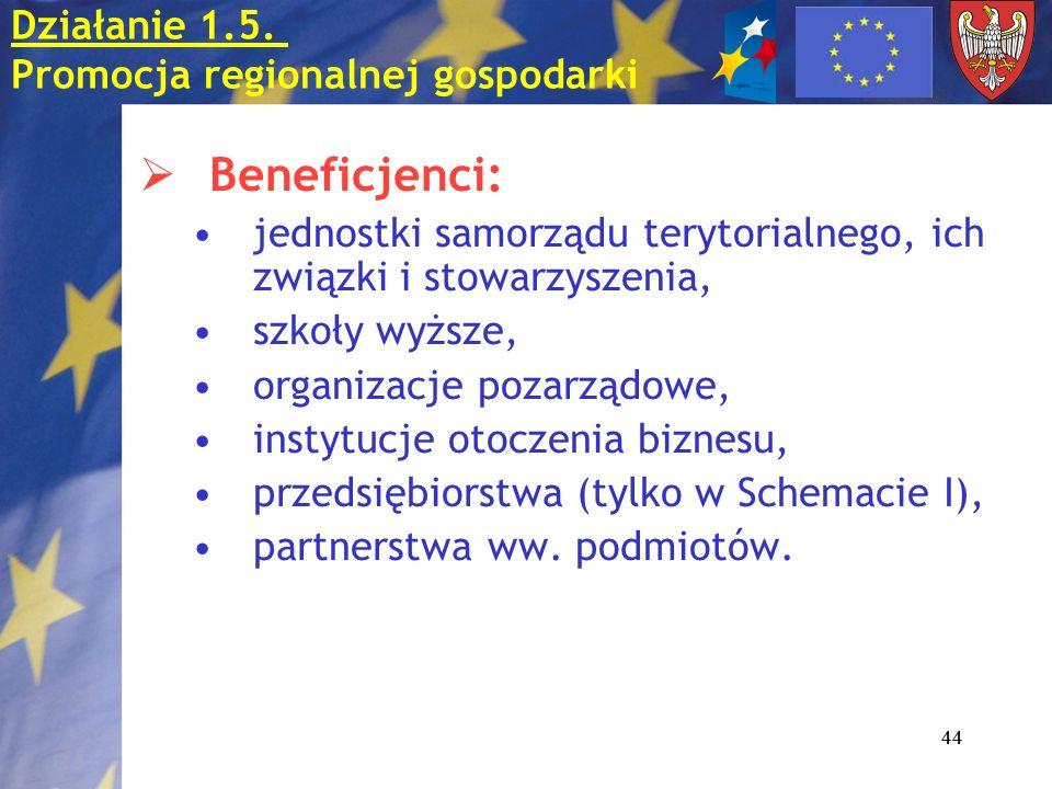 44 Beneficjenci: jednostki samorządu terytorialnego, ich związki i stowarzyszenia, szkoły wyższe, organizacje pozarządowe, instytucje otoczenia biznes