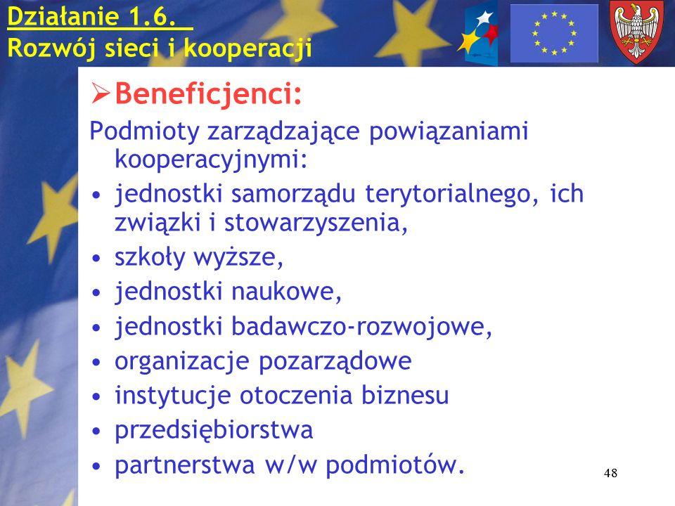 48 Beneficjenci: Podmioty zarządzające powiązaniami kooperacyjnymi: jednostki samorządu terytorialnego, ich związki i stowarzyszenia, szkoły wyższe, j