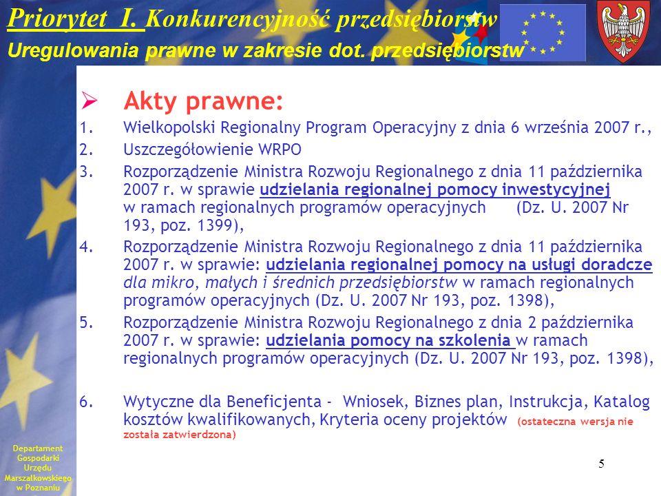 5 Priorytet I. Konkurencyjność przedsiębiorstw Uregulowania prawne w zakresie dot. przedsiębiorstw Akty prawne: 1.Wielkopolski Regionalny Program Oper