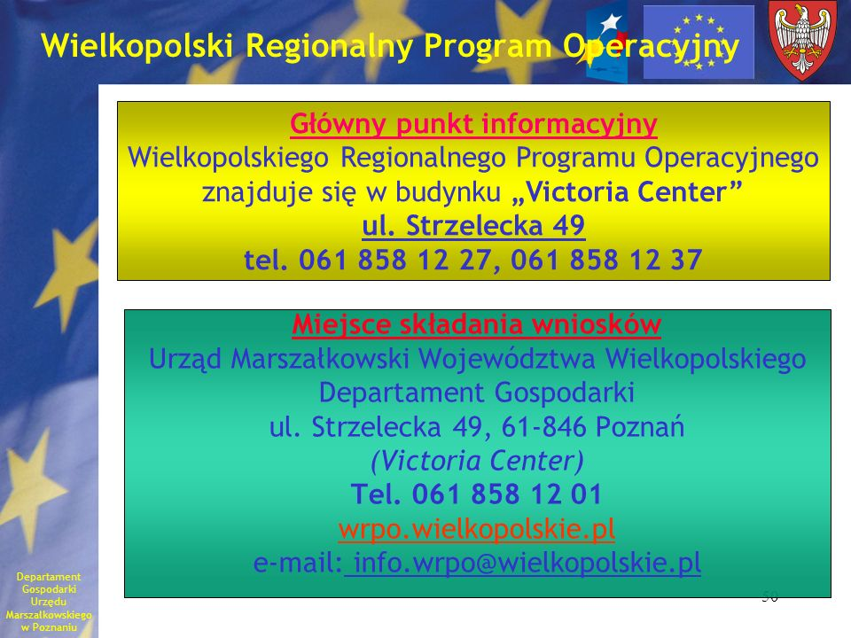 50 Wielkopolski Regionalny Program Operacyjny Miejsce składania wniosków Urząd Marszałkowski Województwa Wielkopolskiego Departament Gospodarki ul. St
