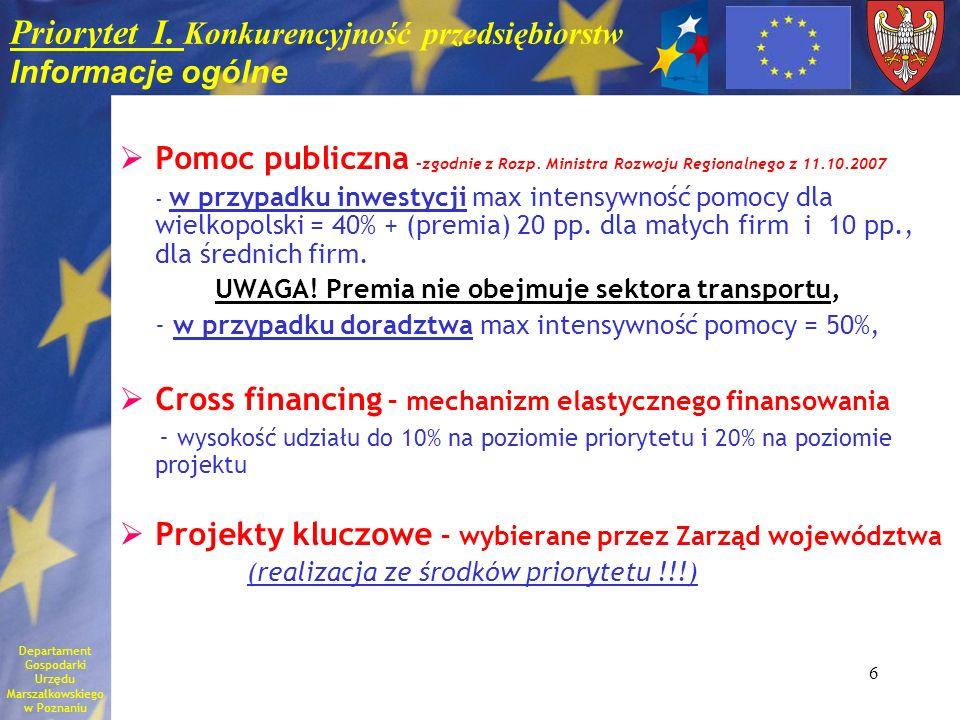 6 Priorytet I. Konkurencyjność przedsiębiorstw Informacje ogólne Pomoc publiczna –zgodnie z Rozp. Ministra Rozwoju Regionalnego z 11.10.2007 - w przyp