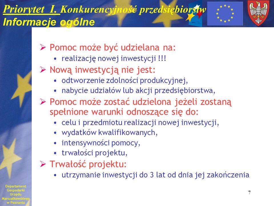 7 Priorytet I. Konkurencyjność przedsiębiorstw Informacje ogólne Pomoc może być udzielana na: realizację nowej inwestycji !!! Nową inwestycją nie jest