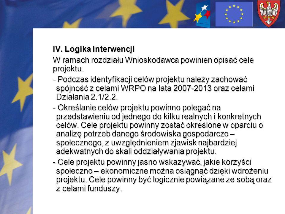IV. Logika interwencji W ramach rozdziału Wnioskodawca powinien opisać cele projektu. - Podczas identyfikacji celów projektu należy zachować spójność