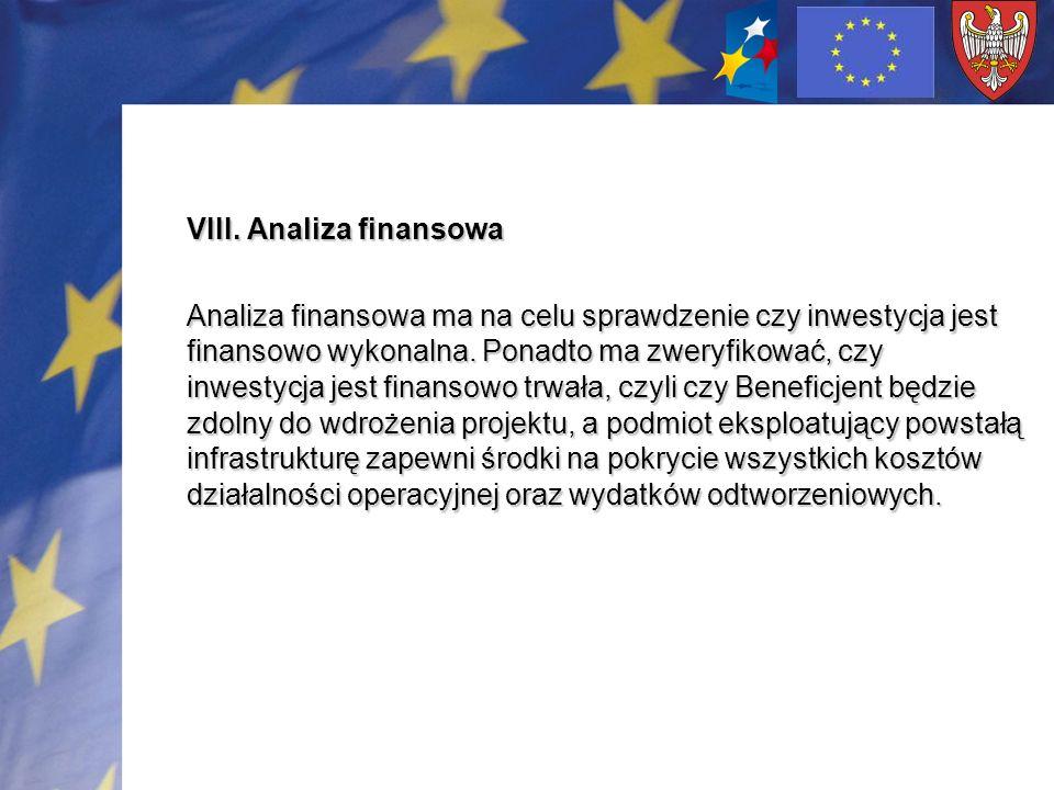VIII. Analiza finansowa Analiza finansowa ma na celu sprawdzenie czy inwestycja jest finansowo wykonalna. Ponadto ma zweryfikować, czy inwestycja jest