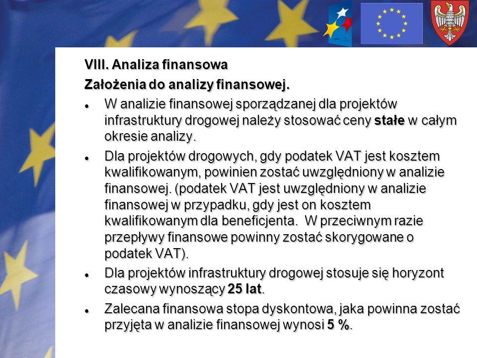 VIII. Analiza finansowa Założenia do analizy finansowej. W analizie finansowej sporządzanej dla projektów infrastruktury drogowej należy stosować ceny