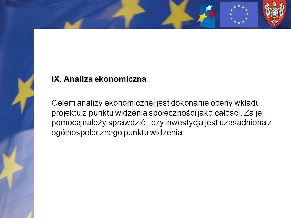IX. Analiza ekonomiczna Celem analizy ekonomicznej jest dokonanie oceny wkładu projektu z punktu widzenia społeczności jako całości. Za jej pomocą nal
