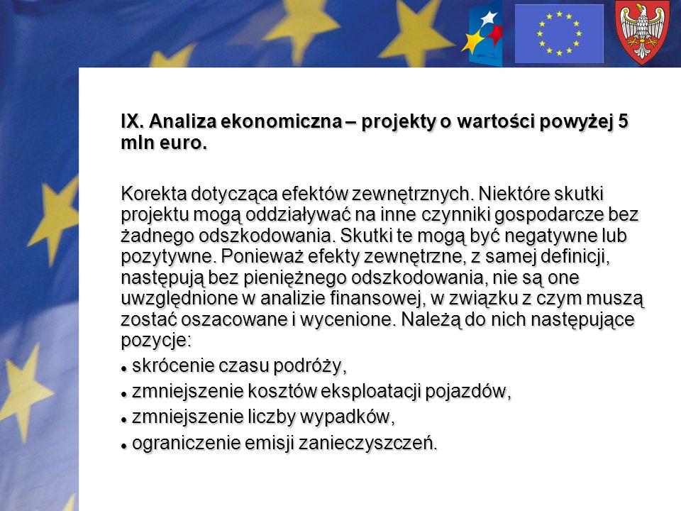 IX. Analiza ekonomiczna – projekty o wartości powyżej 5 mln euro. Korekta dotycząca efektów zewnętrznych. Niektóre skutki projektu mogą oddziaływać na