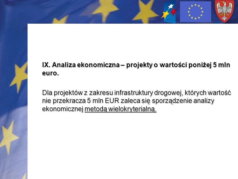 IX. Analiza ekonomiczna – projekty o wartości poniżej 5 mln euro. Dla projektów z zakresu infrastruktury drogowej, których wartość nie przekracza 5 ml