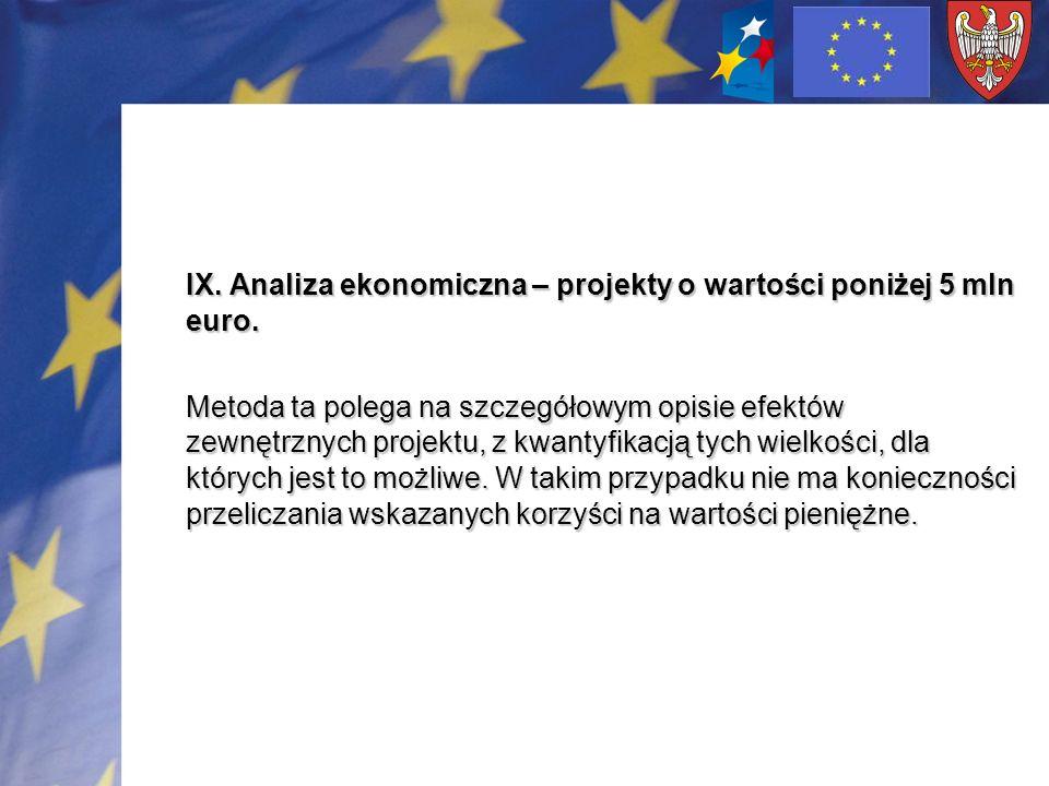 IX. Analiza ekonomiczna – projekty o wartości poniżej 5 mln euro. Metoda ta polega na szczegółowym opisie efektów zewnętrznych projektu, z kwantyfikac