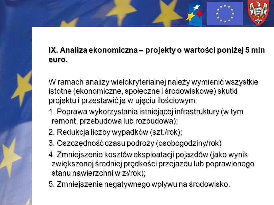 IX. Analiza ekonomiczna – projekty o wartości poniżej 5 mln euro. W ramach analizy wielokryterialnej należy wymienić wszystkie istotne (ekonomiczne, s