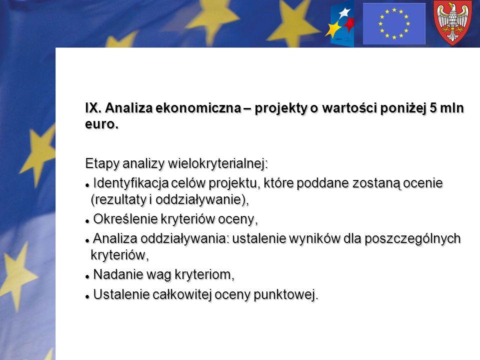 IX. Analiza ekonomiczna – projekty o wartości poniżej 5 mln euro. Etapy analizy wielokryterialnej: Identyfikacja celów projektu, które poddane zostaną