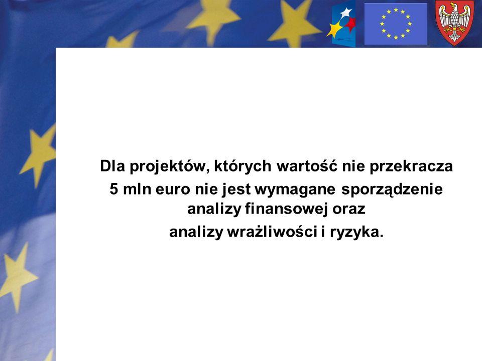 Dla projektów, których wartość nie przekracza 5 mln euro nie jest wymagane sporządzenie analizy finansowej oraz analizy wrażliwości i ryzyka.