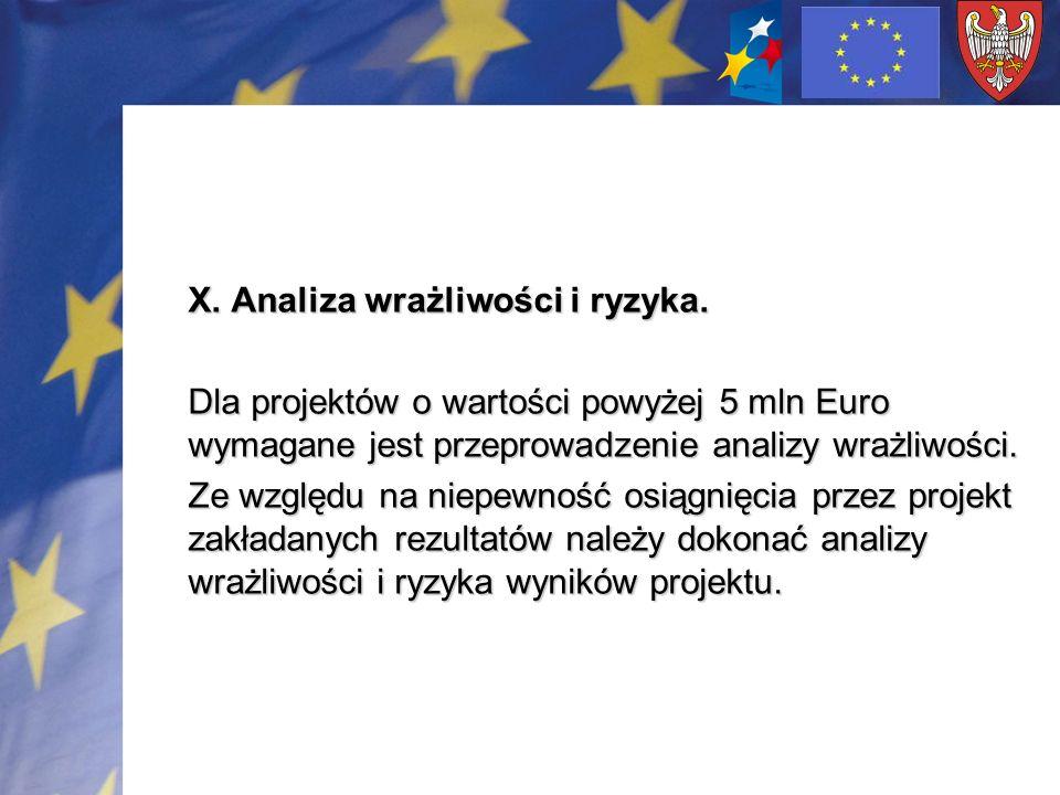 X. Analiza wrażliwości i ryzyka. Dla projektów o wartości powyżej 5 mln Euro wymagane jest przeprowadzenie analizy wrażliwości. Ze względu na niepewno