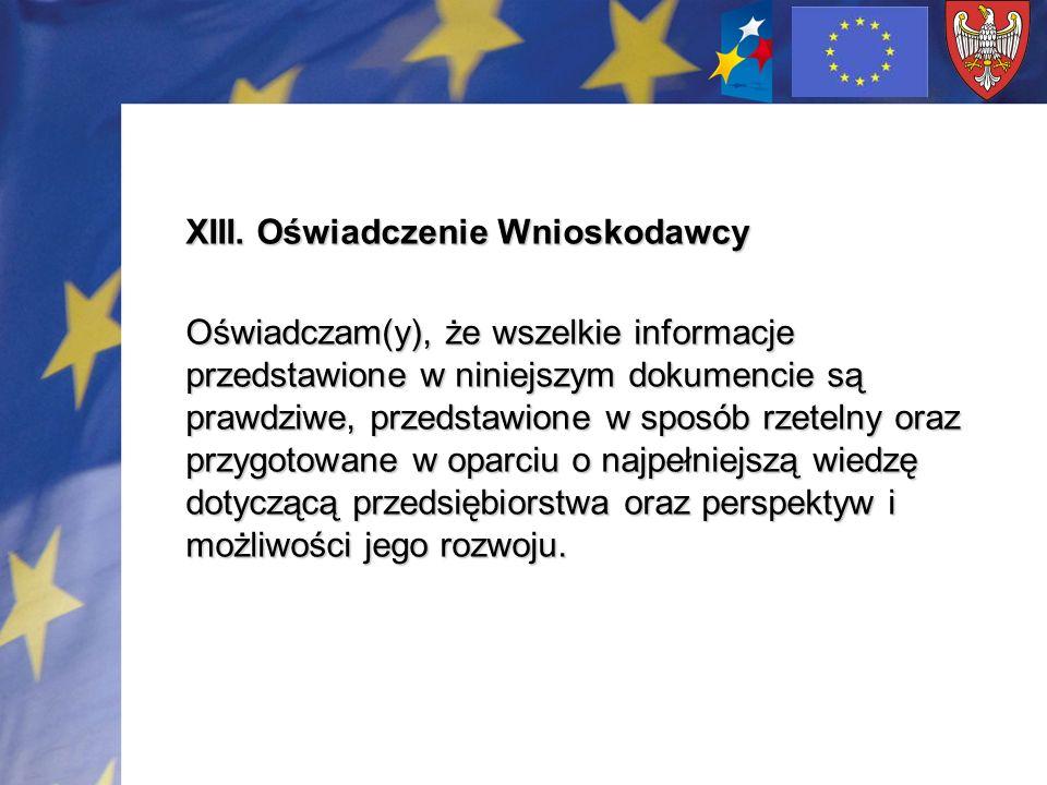 XIII. Oświadczenie Wnioskodawcy Oświadczam(y), że wszelkie informacje przedstawione w niniejszym dokumencie są prawdziwe, przedstawione w sposób rzete