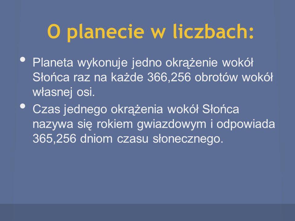 O planecie w liczbach: Planeta wykonuje jedno okrążenie wokół Słońca raz na każde 366,256 obrotów wokół własnej osi. Czas jednego okrążenia wokół Słoń