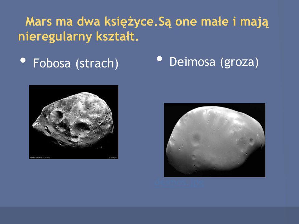 Mars ma dwa księżyce.Są one małe i mają nieregularny kształt. Fobosa (strach) Deimosa (groza) deimos.jpg