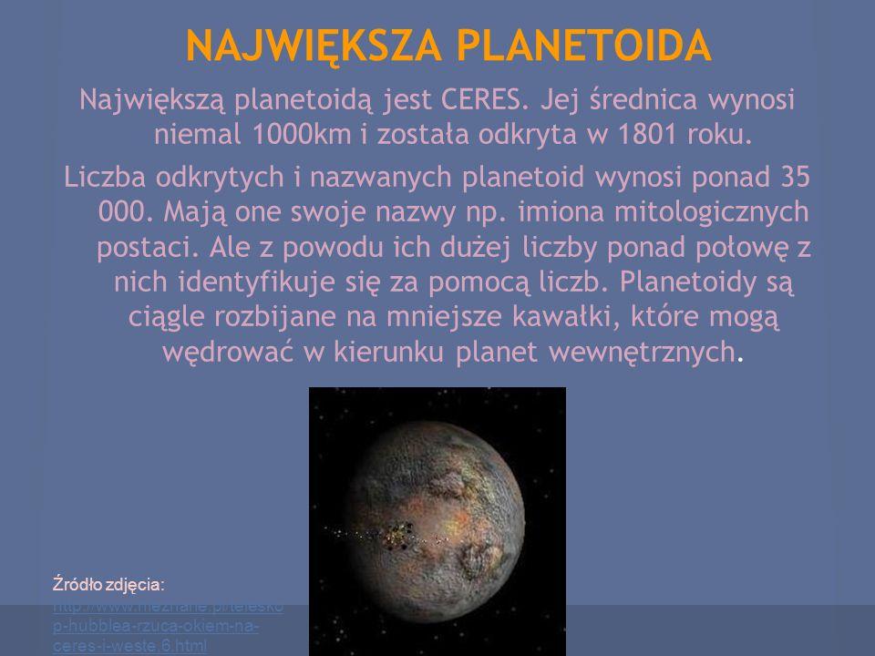 NAJWIĘKSZA PLANETOIDA Największą planetoidą jest CERES. Jej średnica wynosi niemal 1000km i została odkryta w 1801 roku. Liczba odkrytych i nazwanych