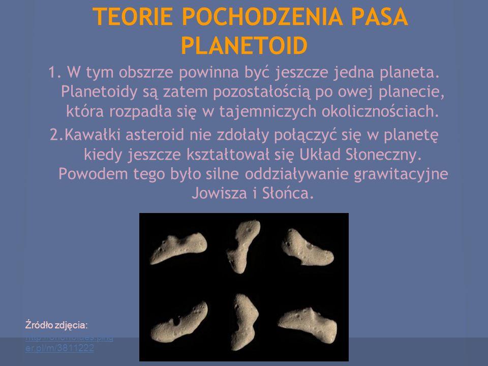 TEORIE POCHODZENIA PASA PLANETOID 1. W tym obszrze powinna być jeszcze jedna planeta. Planetoidy są zatem pozostałością po owej planecie, która rozpad