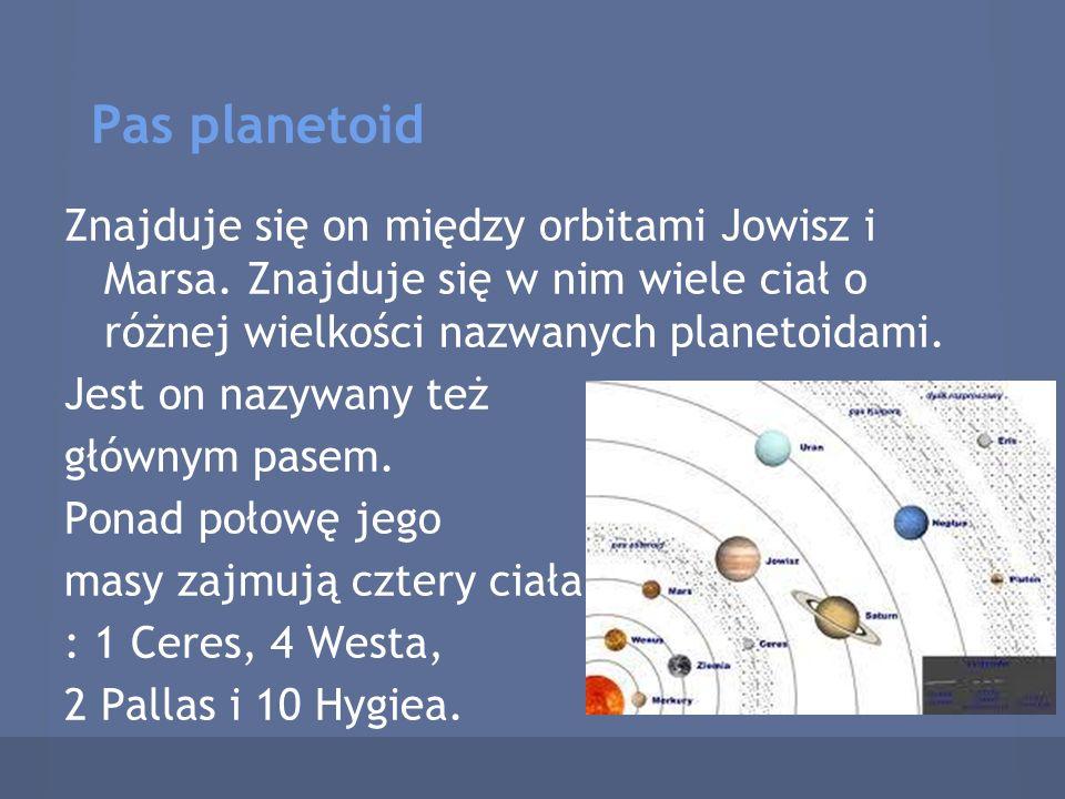 Pas planetoid Znajduje się on między orbitami Jowisz i Marsa. Znajduje się w nim wiele ciał o różnej wielkości nazwanych planetoidami. Jest on nazywan