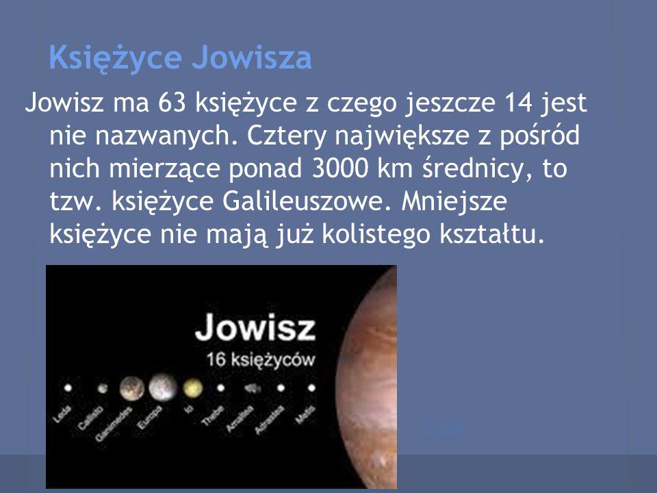 Księżyce Jowisza Jowisz ma 63 księżyce z czego jeszcze 14 jest nie nazwanych. Cztery największe z pośród nich mierzące ponad 3000 km średnicy, to tzw.