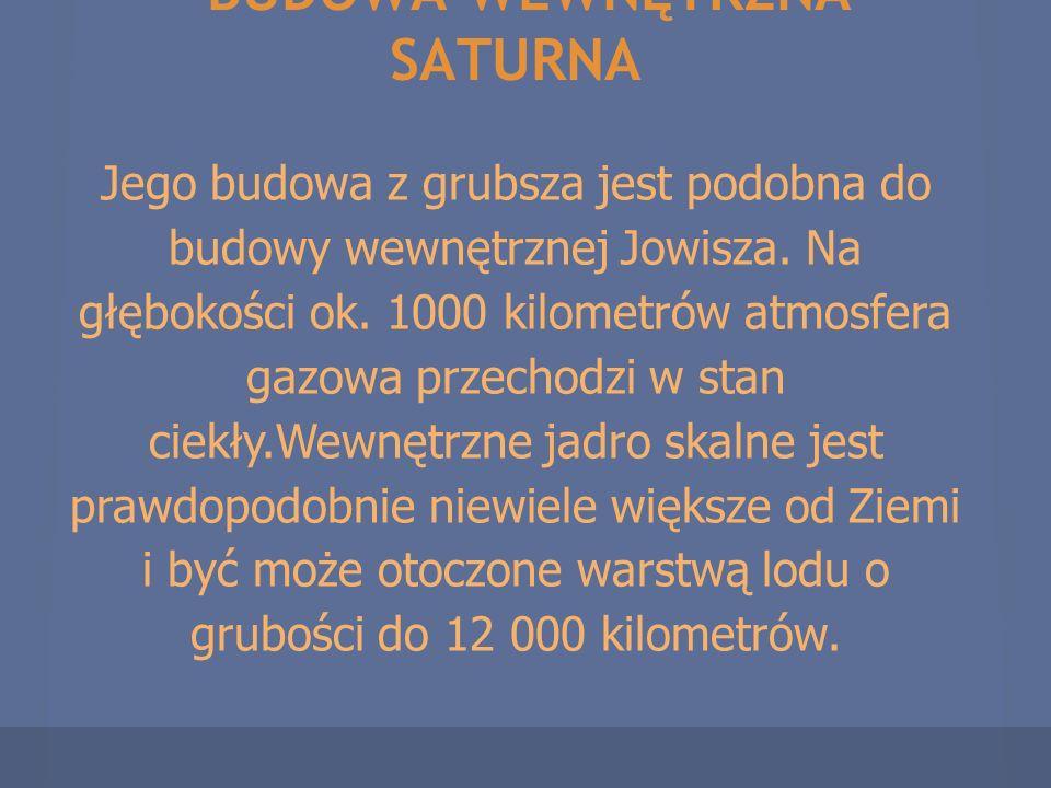BUDOWA WEWNĘTRZNA SATURNA Jego budowa z grubsza jest podobna do budowy wewnętrznej Jowisza. Na głębokości ok. 1000 kilometrów atmosfera gazowa przecho