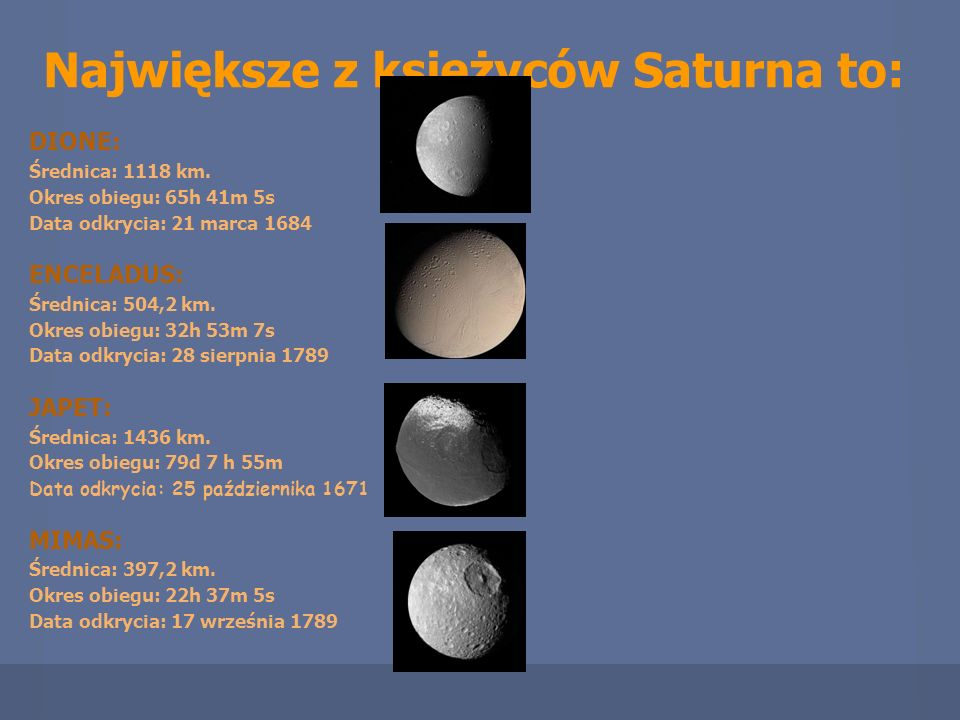 Największe z księżyców Saturna to: DIONE: Średnica: 1118 km. Okres obiegu: 65h 41m 5s Data odkrycia: 21 marca 1684 ENCELADUS: Średnica: 504,2 km. Okre