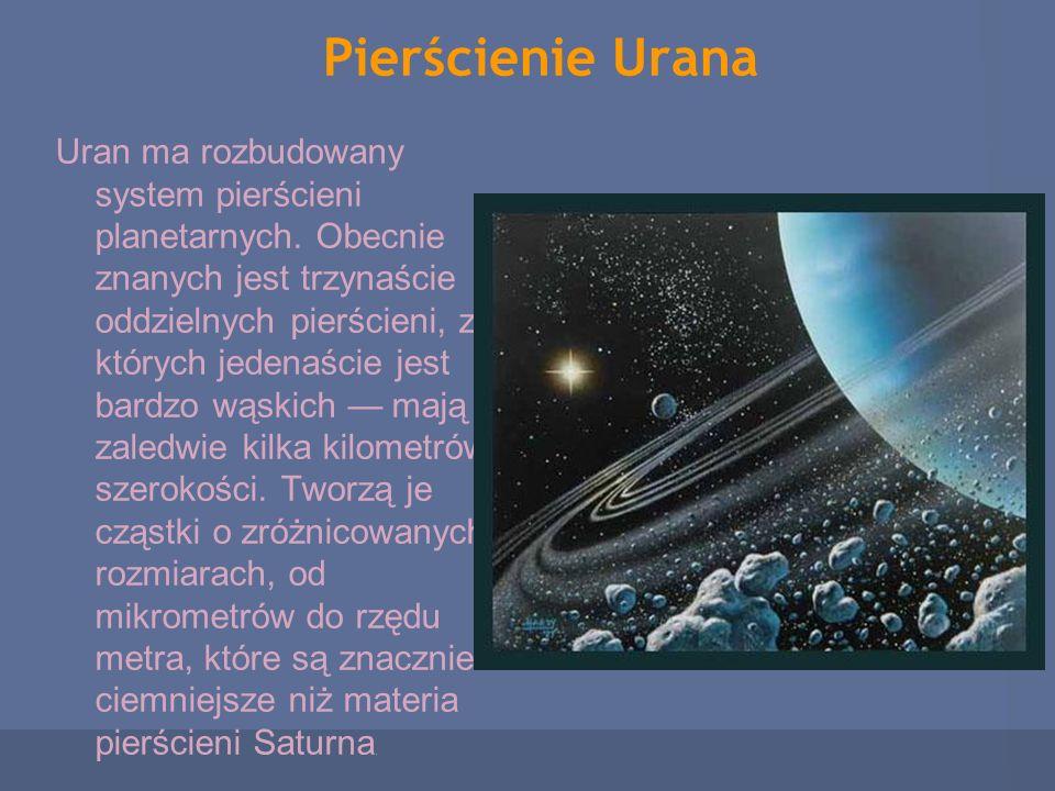Pierścienie Urana Uran ma rozbudowany system pierścieni planetarnych. Obecnie znanych jest trzynaście oddzielnych pierścieni, z których jedenaście jes