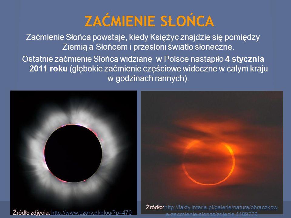 ZAĆMIENIE SŁOŃCA Zaćmienie Słońca powstaje, kiedy Księżyc znajdzie się pomiędzy Ziemią a Słońcem i przesłoni światło słoneczne. Ostatnie zaćmienie Sło