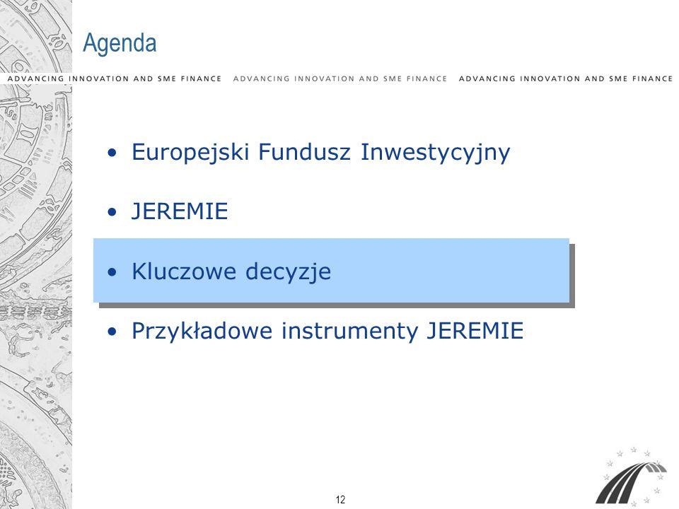 12 Agenda Europejski Fundusz Inwestycyjny JEREMIE Kluczowe decyzje Przykładowe instrumenty JEREMIE