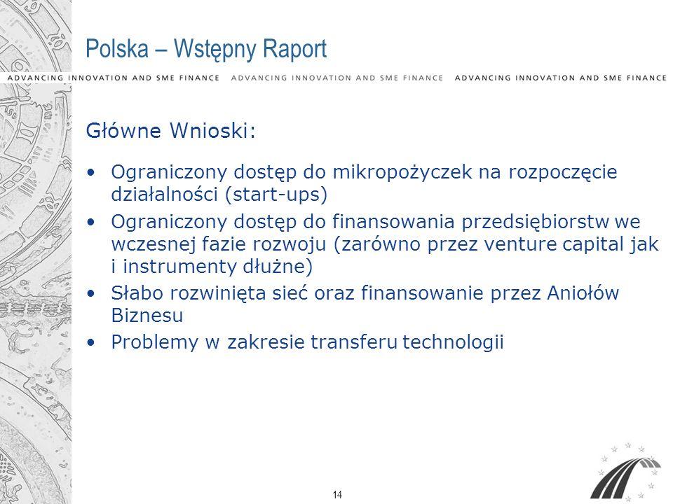 14 Polska – Wstępny Raport Główne Wnioski: Ograniczony dostęp do mikropożyczek na rozpoczęcie działalności (start-ups) Ograniczony dostęp do finansowa