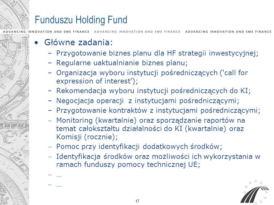 17 Funduszu Holding Fund Główne zadania: –Przygotowanie biznes planu dla HF strategii inwestycyjnej; –Regularne uaktualnianie biznes planu; –Organizac