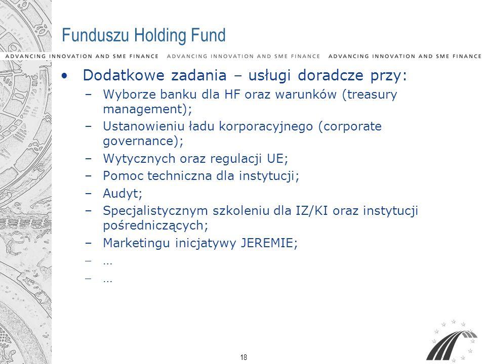 18 Funduszu Holding Fund Dodatkowe zadania – usługi doradcze przy: –Wyborze banku dla HF oraz warunków (treasury management); –Ustanowieniu ładu korpo