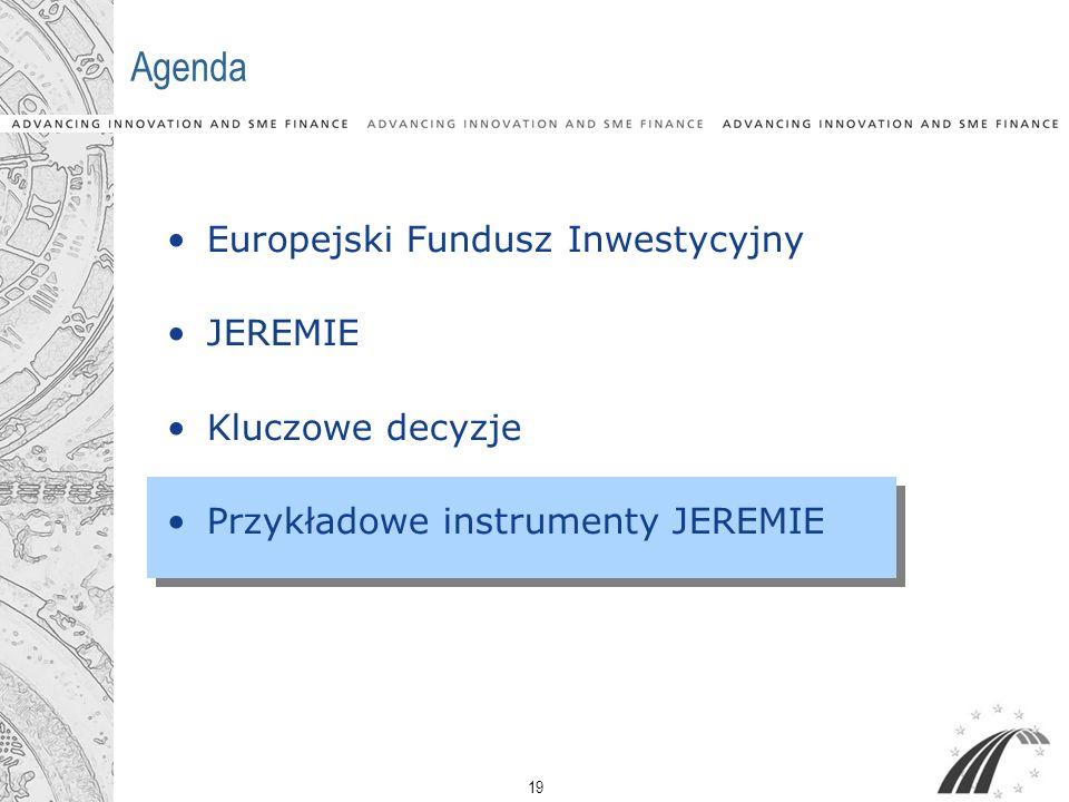 19 Agenda Europejski Fundusz Inwestycyjny JEREMIE Kluczowe decyzje Przykładowe instrumenty JEREMIE
