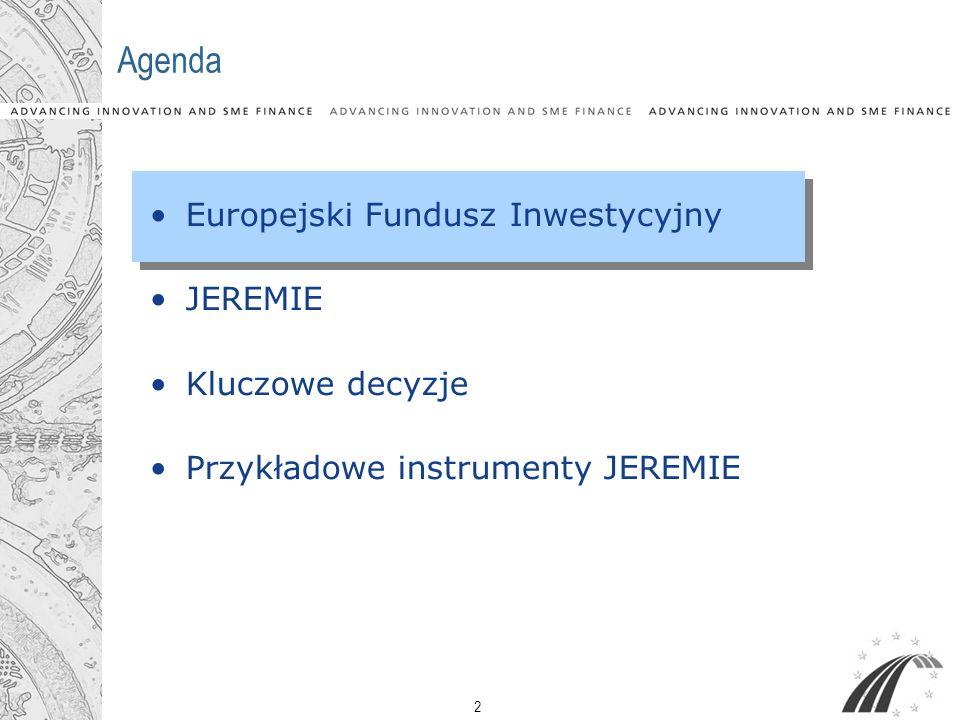 2 Agenda Europejski Fundusz Inwestycyjny JEREMIE Kluczowe decyzje Przykładowe instrumenty JEREMIE