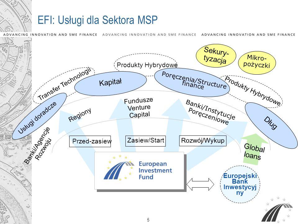 5 Produkty Hybrydowe EFI: Usługi dla Sektora MSP Usługi doradcze Kapitał Poręczenia/Structure finance Dług Przed-zasiew Zasiew/Start Rozwój/Wykup Mikr