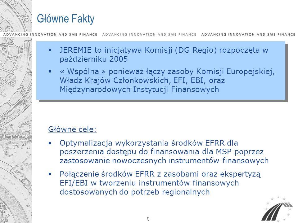 9 Główne Fakty JEREMIE to inicjatywa Komisji (DG Regio) rozpoczęta w październiku 2005 « Wspólna » ponieważ łączy zasoby Komisji Europejskiej, Władz K
