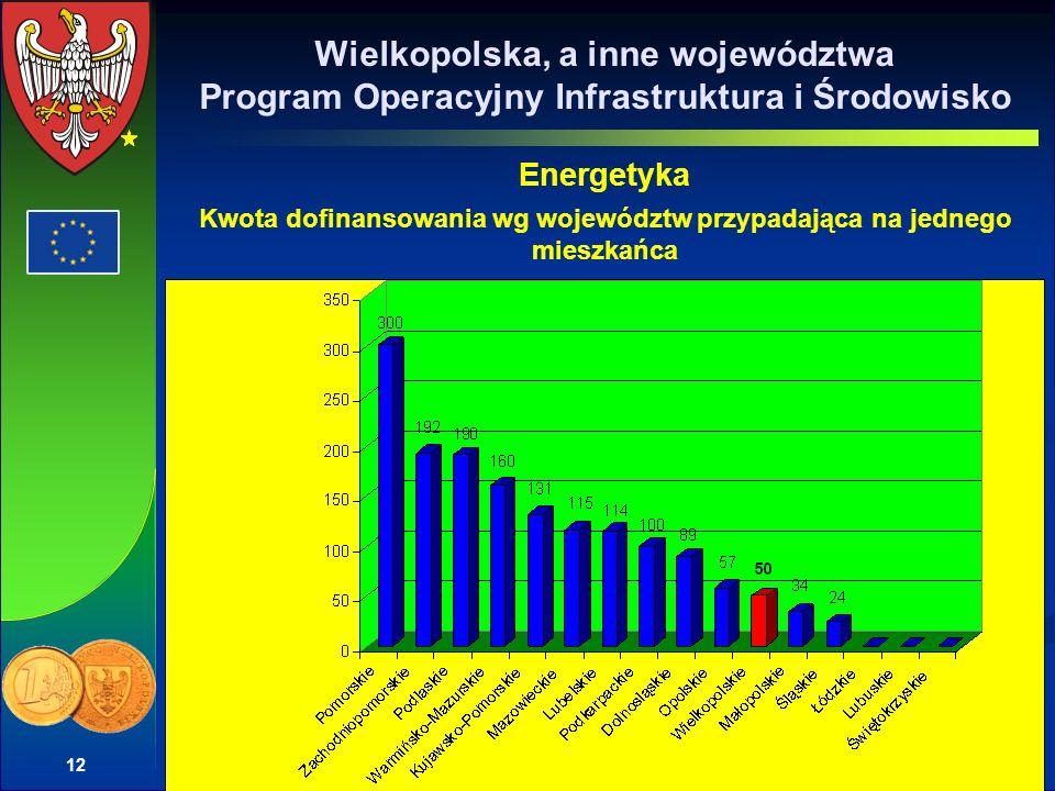 12 Wielkopolska, a inne województwa Program Operacyjny Infrastruktura i Środowisko Energetyka Kwota dofinansowania wg województw przypadająca na jedne