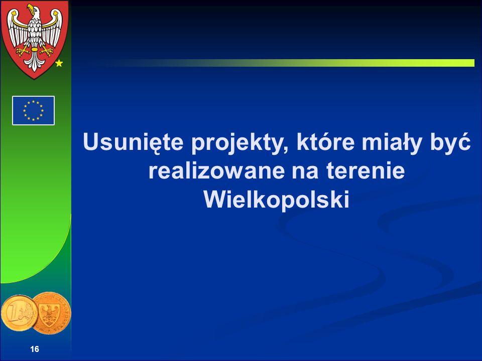 16 Usunięte projekty, które miały być realizowane na terenie Wielkopolski