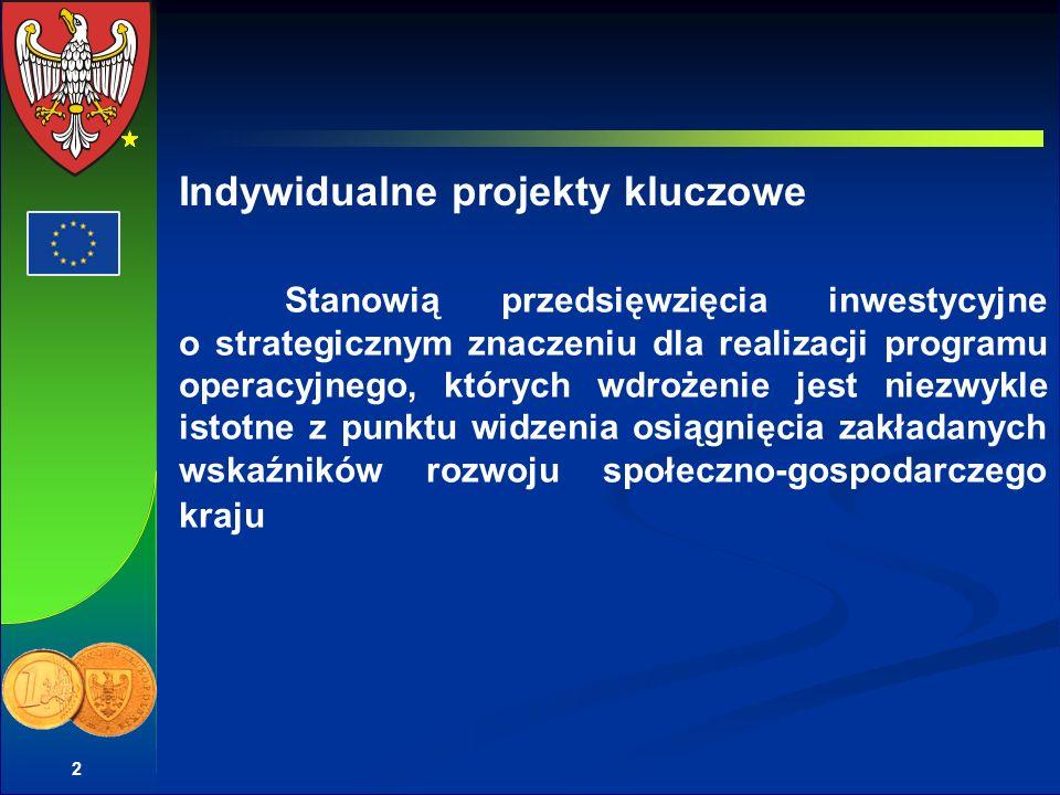 2 Stanowią przedsięwzięcia inwestycyjne o strategicznym znaczeniu dla realizacji programu operacyjnego, których wdrożenie jest niezwykle istotne z punktu widzenia osiągnięcia zakładanych wskaźników rozwoju społeczno-gospodarczego kraju Indywidualne projekty kluczowe