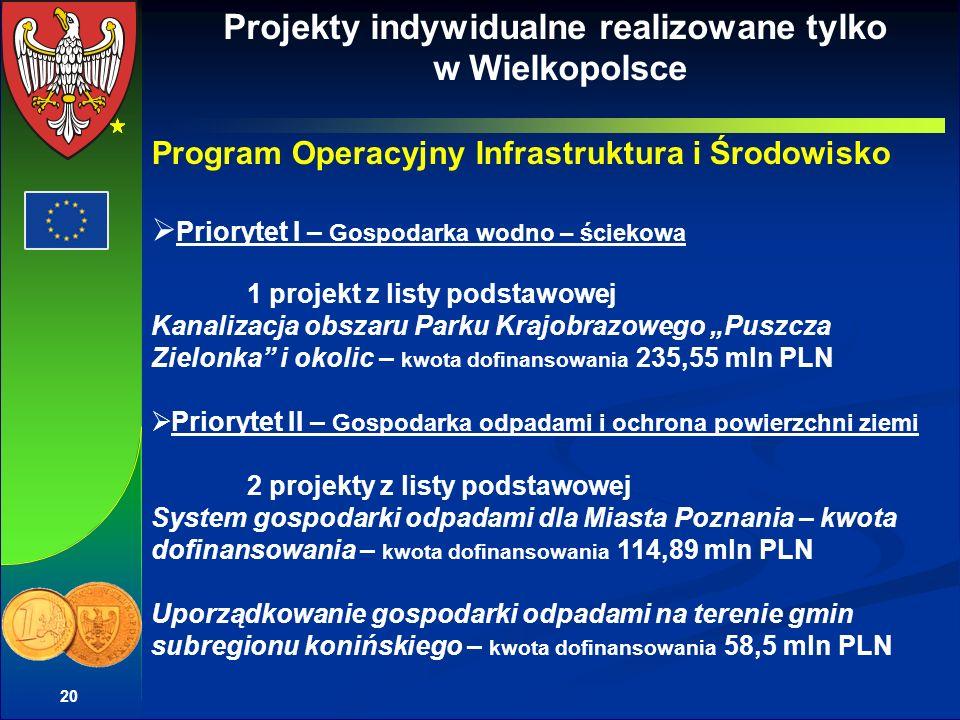 20 Projekty indywidualne realizowane tylko w Wielkopolsce Program Operacyjny Infrastruktura i Środowisko Priorytet I – Gospodarka wodno – ściekowa 1 p