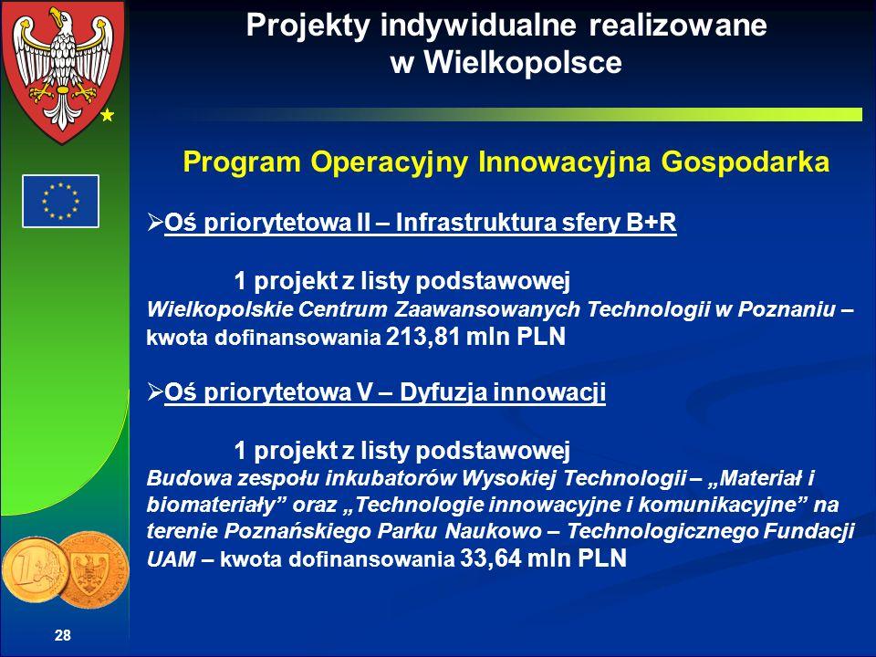 28 Projekty indywidualne realizowane w Wielkopolsce Program Operacyjny Innowacyjna Gospodarka Oś priorytetowa II – Infrastruktura sfery B+R 1 projekt