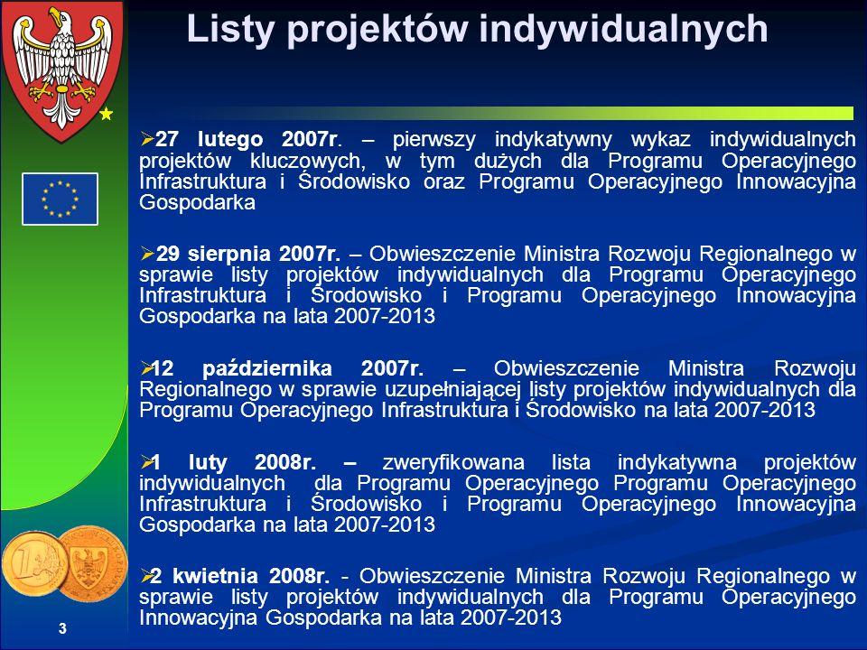 4 Powody przeprowadzenia weryfikacji listy projektów indywidualnych przez MRR zatwierdzenie linii demarkacyjnej 18 grudnia 2007 roku przekroczenie alokacji finansowej dla niektórych priorytetów tylko przy pomocy projektów indywidualnych brak spójności części projektów z zapisami programów operacyjnych brak strategicznego charakteru części projektów dla rozwoju społeczno-gospodarczego tworzenie list projektów indywidualnych bez zaakceptowanych przez Komitet Monitorujący kryteriów wyboru projektu nierealny, w niektórych projektach indywidualnych, termin realizacji projektów