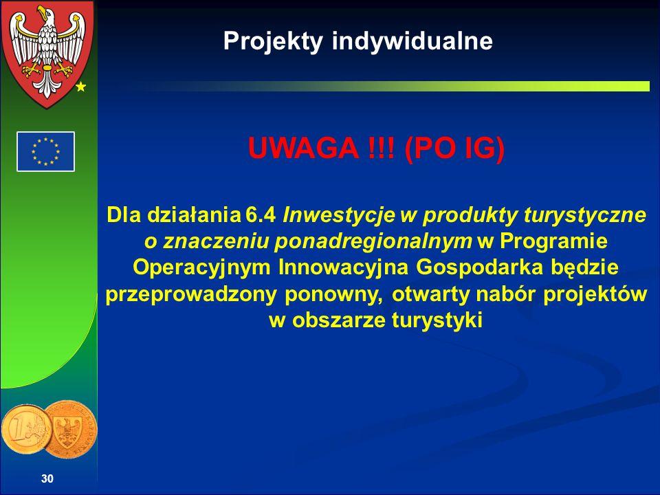30 Projekty indywidualne UWAGA !!! (PO IG) Dla działania 6.4 Inwestycje w produkty turystyczne o znaczeniu ponadregionalnym w Programie Operacyjnym In