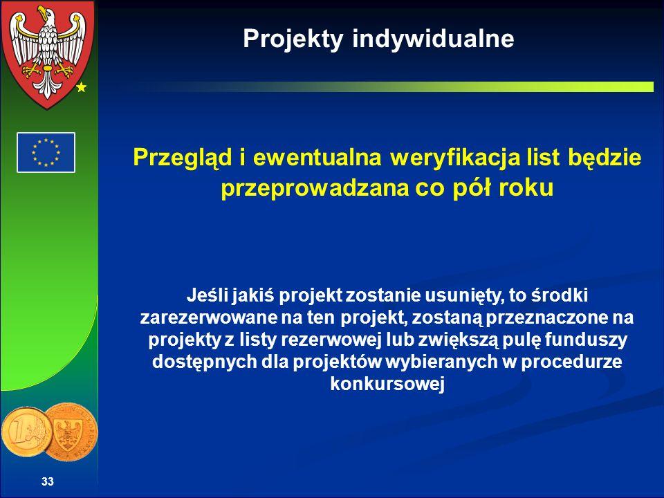 33 Projekty indywidualne Przegląd i ewentualna weryfikacja list będzie przeprowadzana co pół roku Jeśli jakiś projekt zostanie usunięty, to środki zarezerwowane na ten projekt, zostaną przeznaczone na projekty z listy rezerwowej lub zwiększą pulę funduszy dostępnych dla projektów wybieranych w procedurze konkursowej
