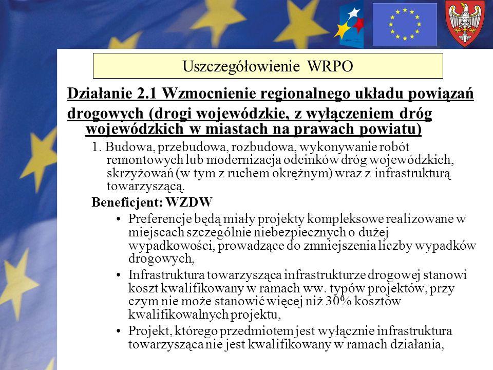 Działanie 2.1 Wzmocnienie regionalnego układu powiązań drogowych (drogi wojewódzkie, z wyłączeniem dróg wojewódzkich w miastach na prawach powiatu) 1.