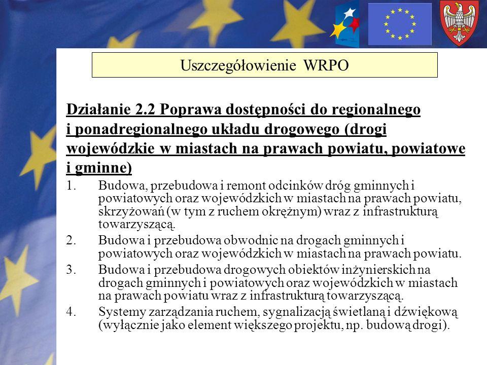 Działanie 2.2 Poprawa dostępności do regionalnego i ponadregionalnego układu drogowego (drogi wojewódzkie w miastach na prawach powiatu, powiatowe i g