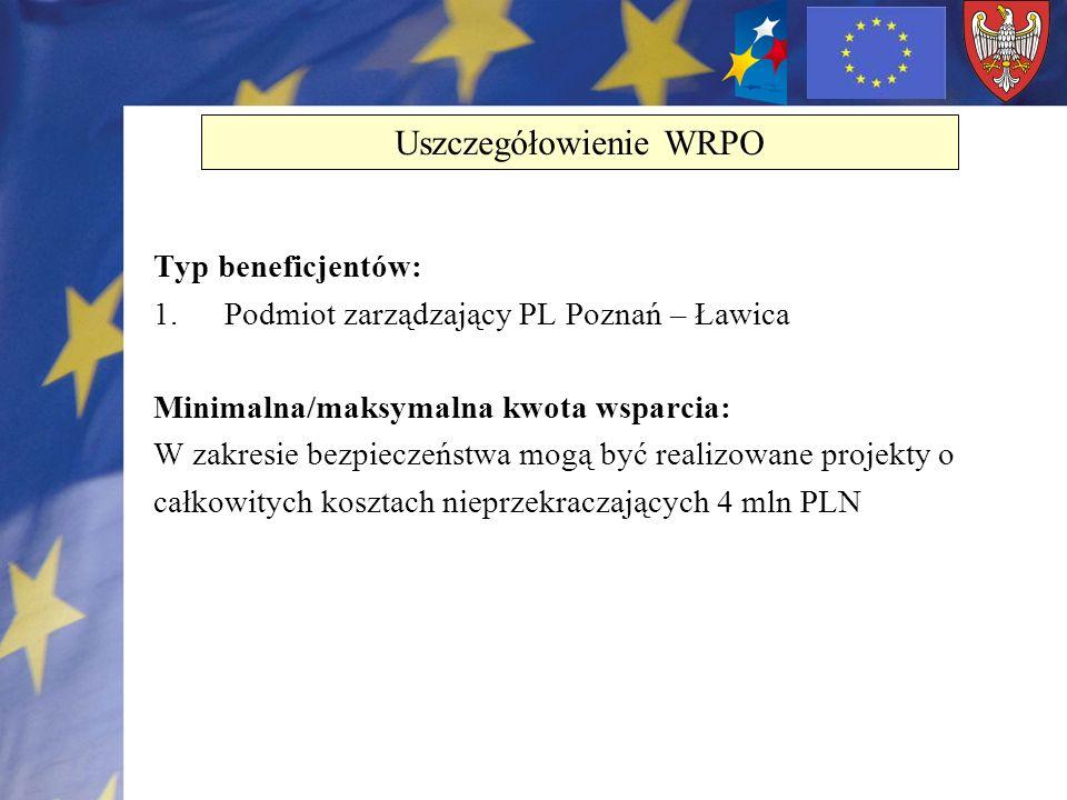 Typ beneficjentów: 1.Podmiot zarządzający PL Poznań – Ławica Minimalna/maksymalna kwota wsparcia: W zakresie bezpieczeństwa mogą być realizowane proje