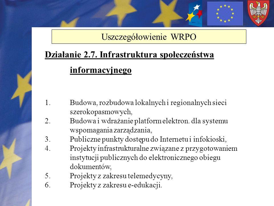 Działanie 2.7. Infrastruktura społeczeństwa informacyjnego 1.Budowa, rozbudowa lokalnych i regionalnych sieci szerokopasmowych, 2.Budowa i wdrażanie p
